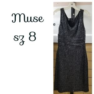 Muse sz8 gunmetal Grey sequined knit dress